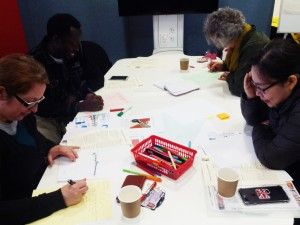 PGR Students (and Kaye!) hard at work on their Infographics